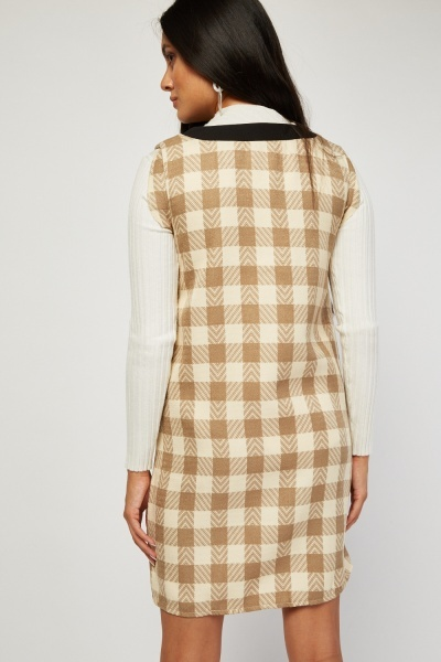 Checkered V-Neck Shift Dress