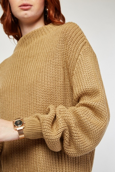 Funnel Neck Herringbone Knit Jumper