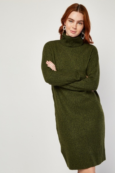 Roll Neck Speckled Knit Dress