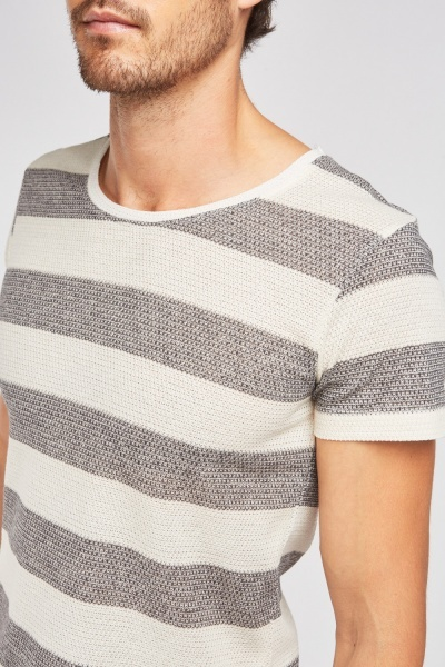 Short Sleeve Stripe Knit Top