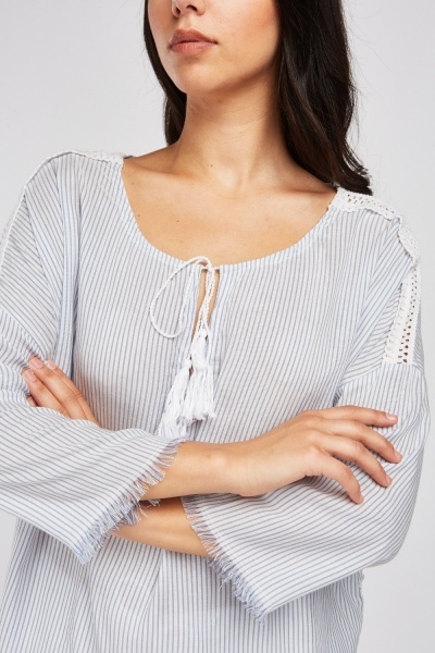 Tie Up Tassel Front Stripe Blouse