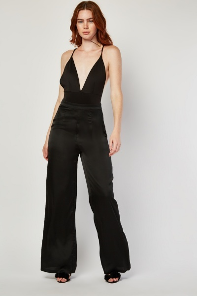 Flared Leg Silky Trousers
