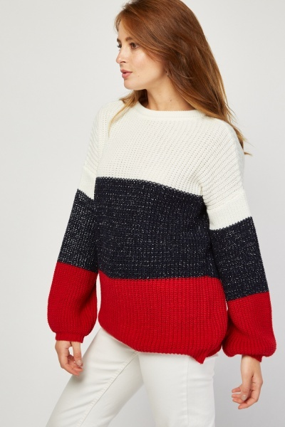 Metallic Knit Colour Block Jumper