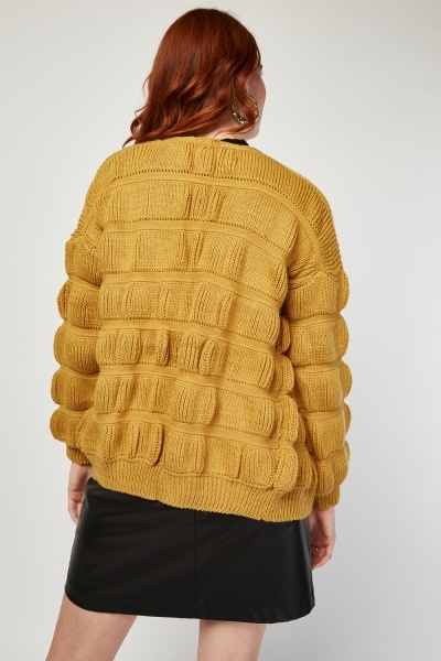 Quilted Herringbone Knit Cardigan