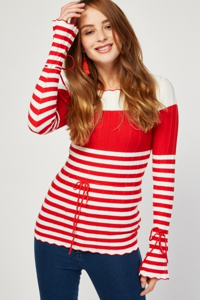 Striped Ribbon Long Sleeve Knit Top