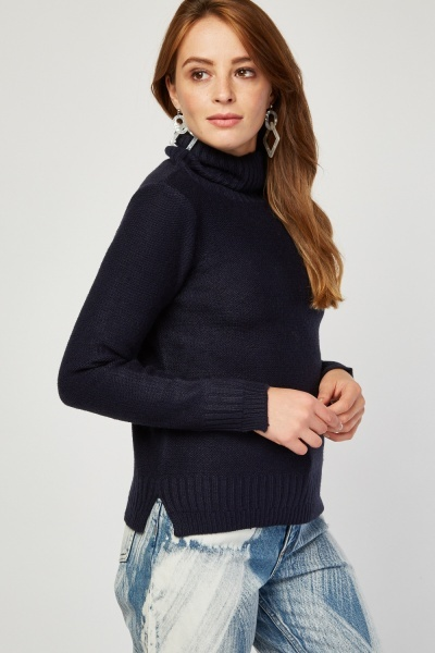 Turtle Neck Herringbone Knit Jumper