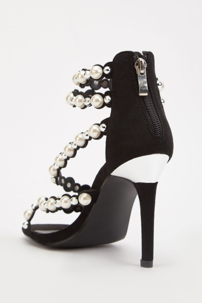 Heavily Studded Strappy Heel Sandals
