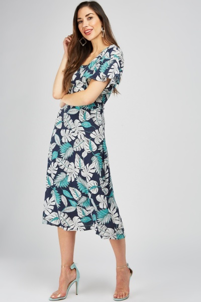 Square Neck Tropical Print Dress