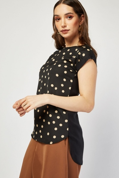 Polka Dot Front Contrast Blouse