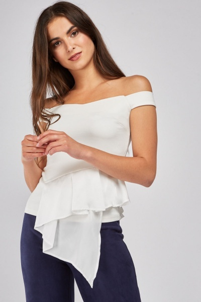 Pleated Sateen Ruffle Peplum Top
