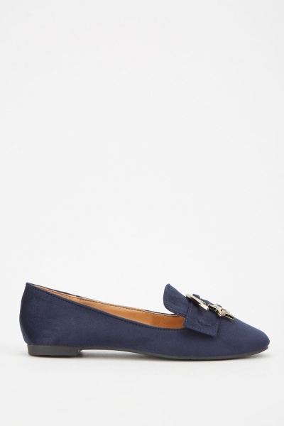 Buckle Star Trim Suedette Loafers