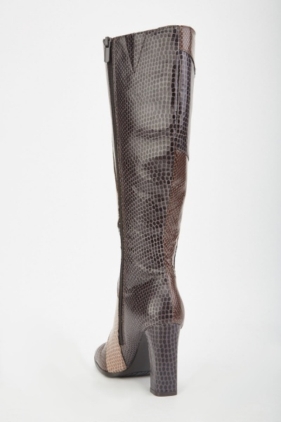 Patchwork Mock Croc Heeled Boots