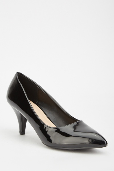 PVC Kitten Heel Court Shoes