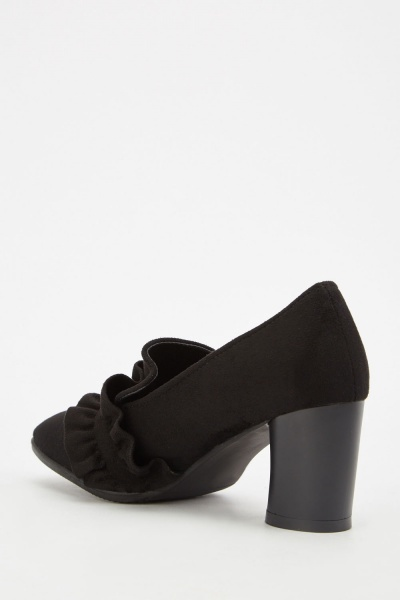 Ruffle Trim Suedette Heeled Loafers