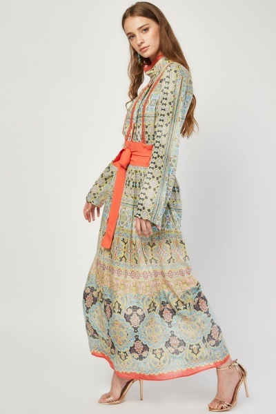 Mix Paisley Print Maxi Dress