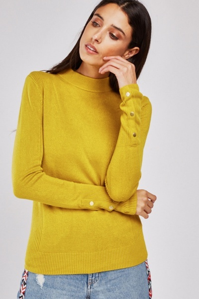 Ribbed Contrast Fine Knit Sweater