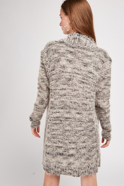 Open Front Speckled Eyelash Cardigan