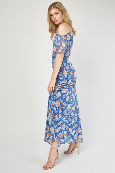 Printed Cold Shoulder Maxi Dress