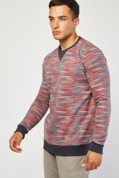 Ribbed Trim Speckled Sweatshirt
