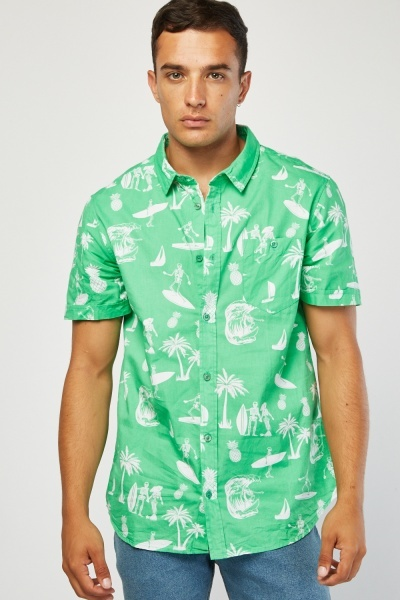 Short Sleeve Hawaiian Print Shirt