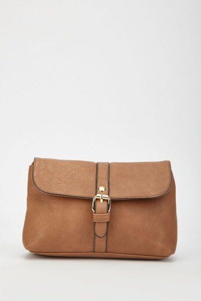 Buckle Strap Textured Cross Body Bag
