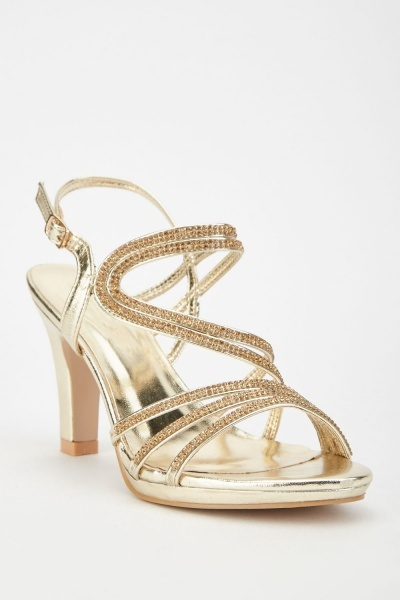 Encrusted Metallic Heel Sandals