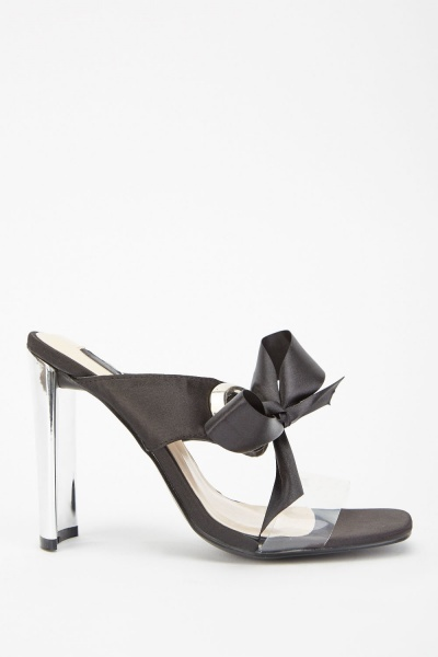 Sateen Transparent Strap Heeled Sandals