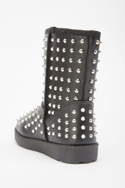 Studded Faux Leather Winter Boots