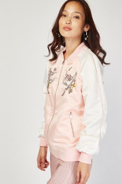 Bird Embroidered Bomber Jacket