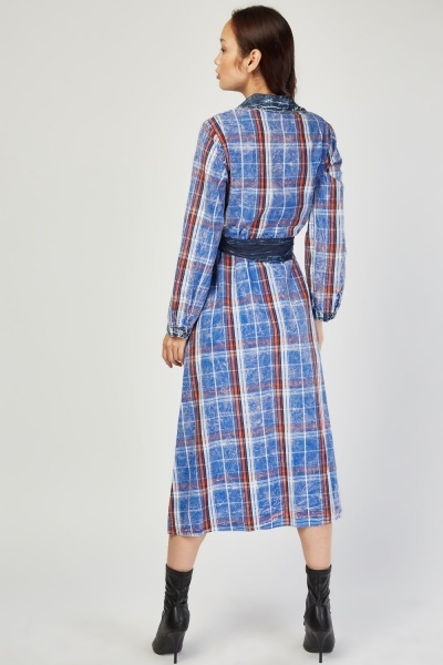 Checkered Midi Shirt Dress