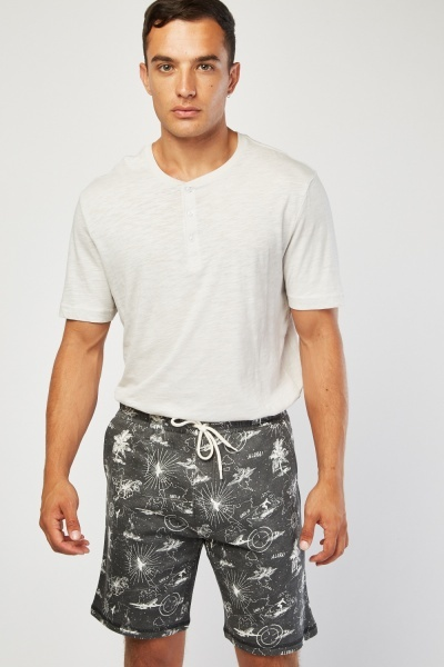 Hawaiian Print Long-Line Shorts