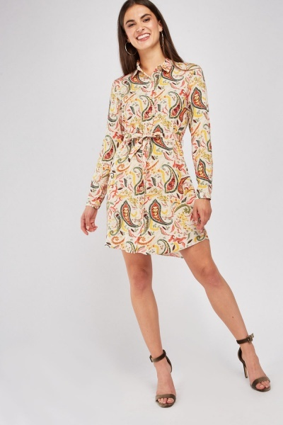 Mix Paisley Print Shirt Dress