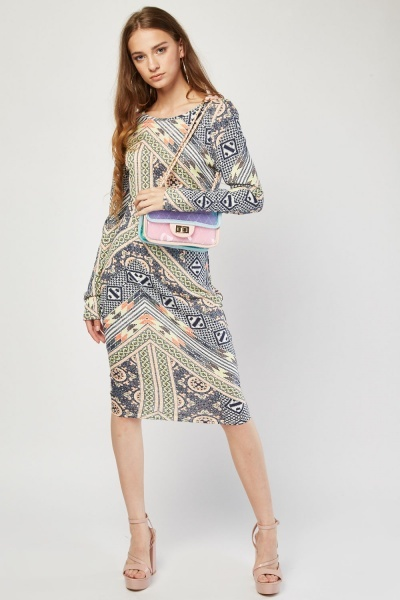 Multi Ethnic Print Bodycon Dress