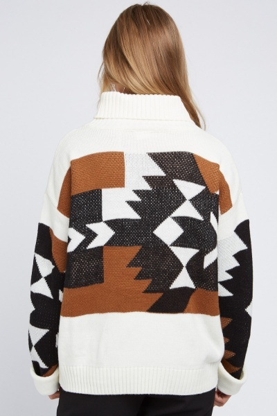 Roll Neck Aztec Pattern Knit Jumper
