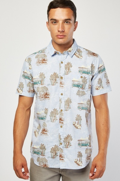 Short Sleeve Novelty Print Shirt