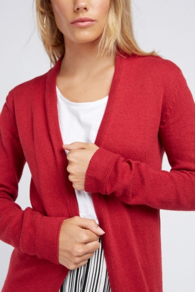 Textured Midi Dark Red Cardigan