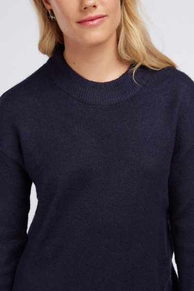 Funnel Neck Speckled Knit Jumper