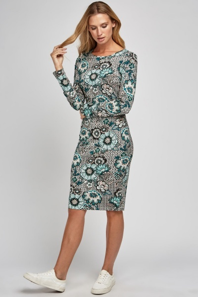 Mix Flower Print Bodycon Dress