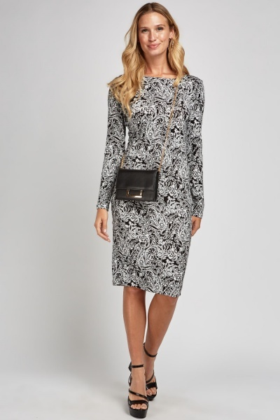 Mix Paisley Print Midi Dress