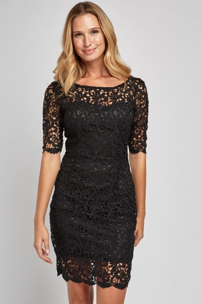 Open Back Laser Cut Lace Dress