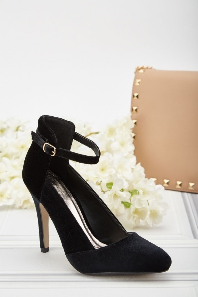 Ankle Strap Velveteen Heeled Pumps