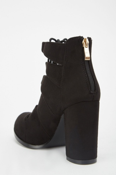 Block Heel Lace Up Boots