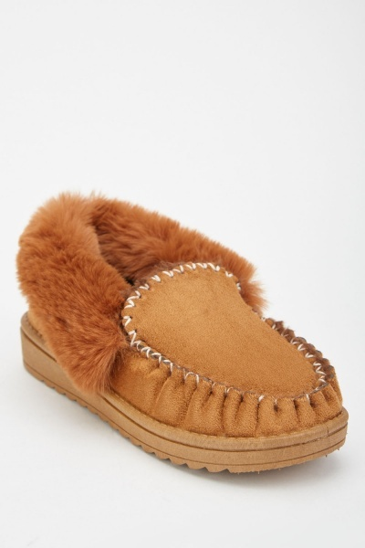 Top Stitched Fluffy Shoes