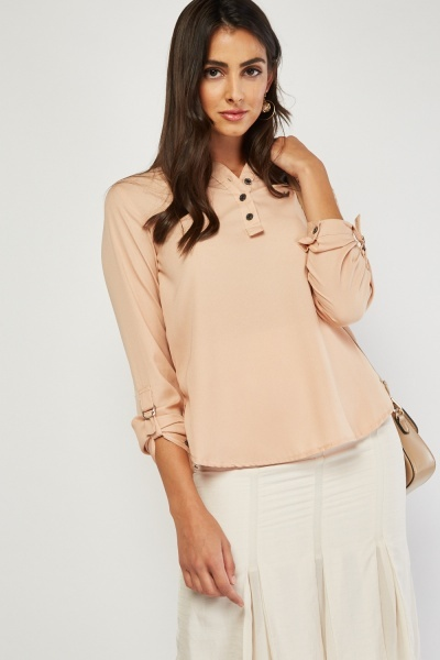Button Front Beige Blouse