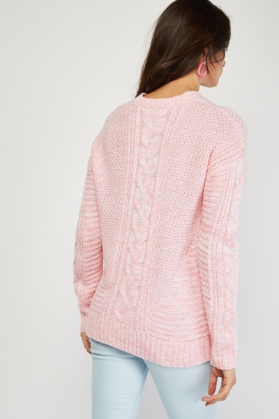 Chunky Cable Knit Pink Jumper