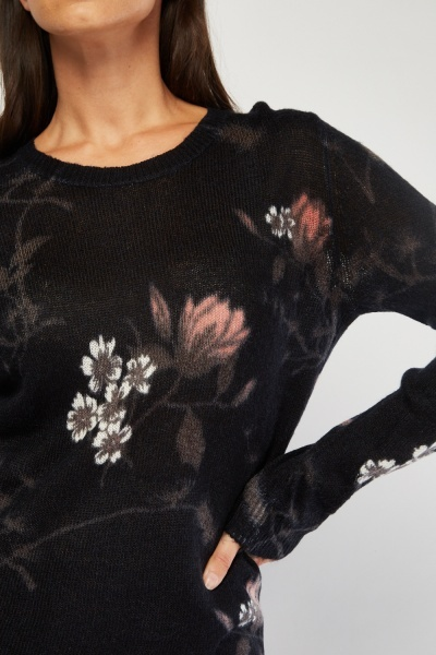 Flower Pattern Fine Knit Jumper