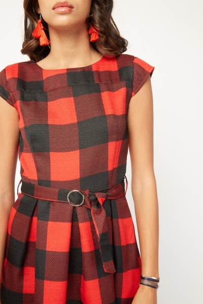 O-Ring Belted Checkered Skater Dress