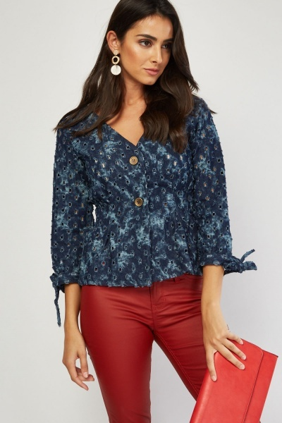 Perforated Distressed Denim Blouse