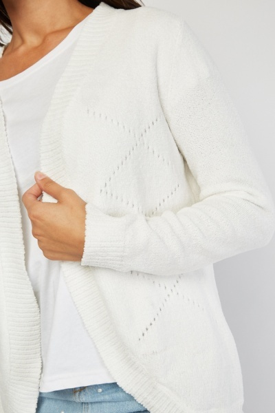 Perforated Patterned Knit Cardigan