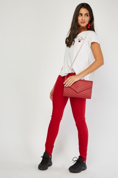 Red Low Waist Skinny Jeans